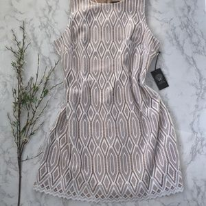 Vince Camuto Lace Nude & White Shift Dress Size 16